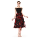 Red And Black Off The Shoulder Chiffon Floral Print Skater Midi Dress