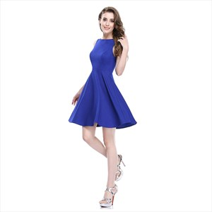 Royal Blue Short Sleeveless Scoop Neck Fit And Flare Skater Dress