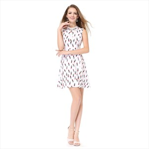 Short White Sleeveless Print Fit And Flare Embellished Dress With Bow