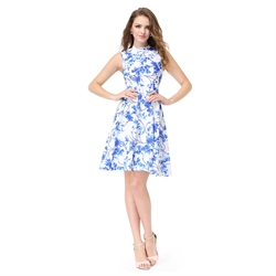 Blue And White Short Sleeveless High Neck Pattern Jacquard Skater Dress