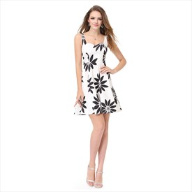 White And Black Floral Jacquard Casual Dresses For Juniors With Straps