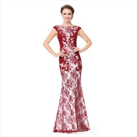 Elegant Illusion Lace Mermaid Cap Sleeve Prom Dress With V-Open Back