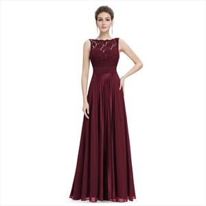Burgundy Chiffon Sheer Illusion Neckline Lace Bodice Dress With Ruching
