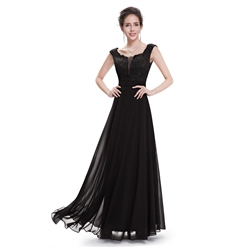 Black Chiffon Plunging Neck Dress With Lace Bodice And Shoulder Straps