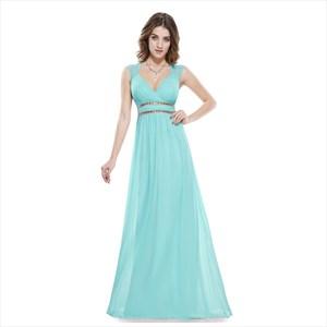 Blue V Neck Sheer Pleated Chiffon Prom Dress With Beaded Waist