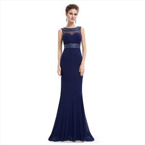 Long Navy Blue Sleeveless Chiffon Illusion Dress With Jewel Detailing