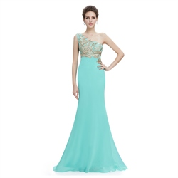 Chiffon One Shoulder Dress With Embellished Bodice And Illusion Back
