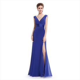 Royal Blue V Neck Sleeveless Chiffon Column Dress With Pleated Bodice
