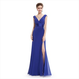 Royal Blue V Neck Sleeveless Chiffon Column Dress With Pleated Bodice