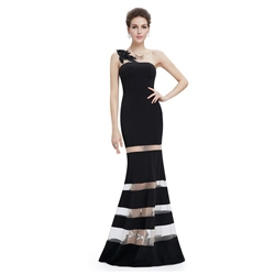 Black One Shoulder Mermaid Long Prom Dress With Sheer Illusion Skirt