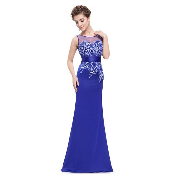 Royal Blue Mermaid Sleeveless Dress With Lace Embellished Sheer Back
