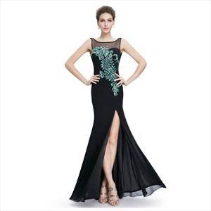 Black Chiffon Sweetheart Sheer Top Embellished Evening Dress With Slit