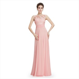 Pink Lace Top Keyhole Back Chiffon Sheer Illusion Neckline Prom Dress