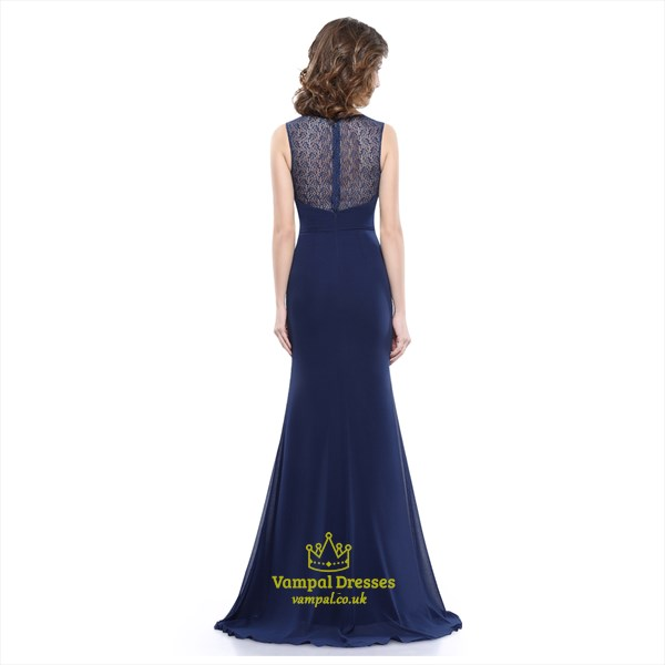 86dfcfb63e83 Navy Blue Chiffon Evening Dress With Lace Bodice And Shoulder Straps ...