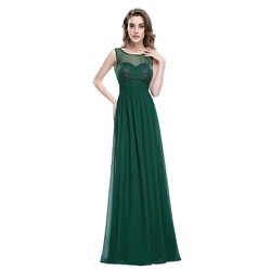 Emerald Green Chiffon Sleeveless Dress With Jewel Embellished Bodice