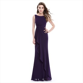 Purple Sleeveless Crinkle Chiffon Bridesmaid Dress With Front Cascade