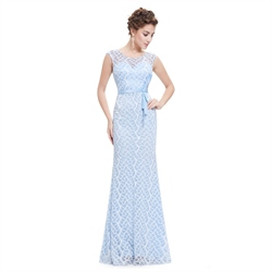 Sky Blue Floor Length Sleeveless Mermaid Dress With Lace Embellished