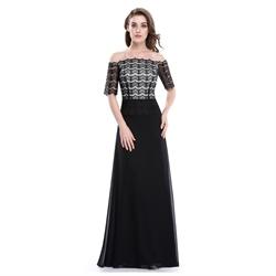 Black Off The Shoulder Lace Embellished Prom Dress With Sheer Sleeves