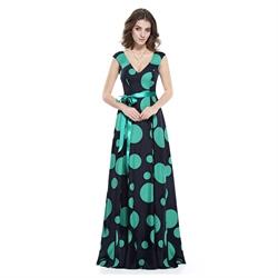 Black And Green Polka Dot Sleeveless V Neck Embellished Maxi Dress