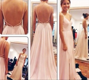 Pink Spaghetti Strap V Neck Backless Floor Length Chiffon Prom Dress