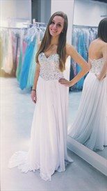 White Strapless Sweetheart Beaded Bodice Long Chiffon Prom Dress