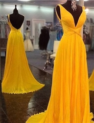 Yellow Sleeveless Criss Cross Front Backless Chiffon Prom Dress