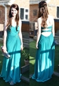 Strapless Pleated Bodice Crinkle Chiffon Prom Dress With Cascade Skirt