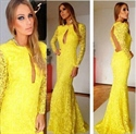 Yellow Open Back Sheer Sleeves Front Cut Out Lace Mermaid Prom Dress