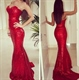 Red Strapless Sweetheart Neckline Sheath Sequin Mermaid Prom Dress
