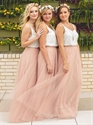 White Spaghetti Strap Peach Floor-Length A-Line Tulle Bridesmaid Dress