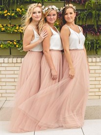 White Spaghetti Strap Peach Floor-Length A-Line Tulle Bridesmaid Dress