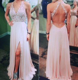 Halter Neck Deep V Neck Lace Bodice Backless Column Chiffon Prom Dress