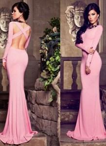 Pink Bateau Neckline Sheath Mermaid Prom Dress With Cross Open Back