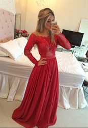 Red Illusion Lace Bodice Long Sleeve Chiffon Prom Dress With Beading
