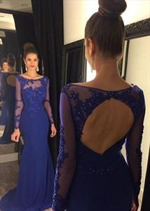 Royal Blue Lace Illusion Bodice Sheer Long Sleeve Mermaid Prom Dress