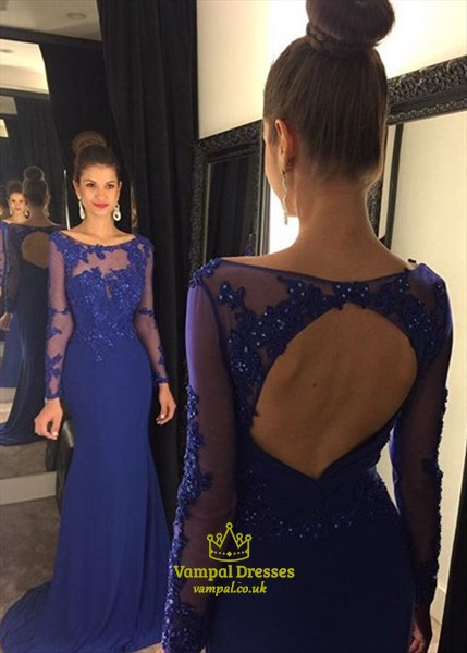 Royal Blue Lace Illusion Bodice Sheer Long Sleeve Mermaid Prom Dress