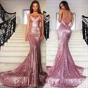 Chapel Train Spaghetti Strap Backless Sheath Sequin Mermaid Prom Dress