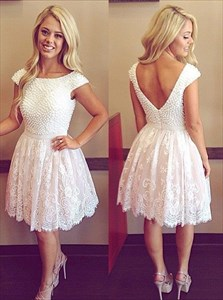 White Knee Length Cap Sleeve Beaded Bodice Lace Cocktail Dress