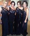 Navy Blue One Shoulder Applique Bodice Bridesmaid Dress With Side Split