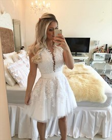 White Sleeveless Plunging V Neck Lace Applique Tulle Homecoming Dress