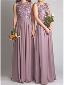 Elegant Purple Column Sleeveless A Line Chiffon Bridesmaid Dress