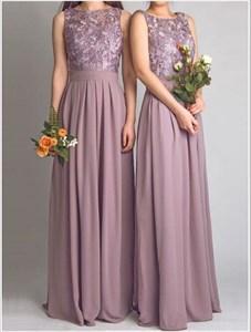 Elegant Purple Column Sleeveless A Line Chiffon Bridesmaid Dress