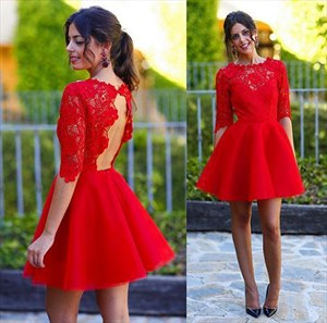 Red Illusion Neckline Half Sleeve Open Back Lace Homecoming Dress