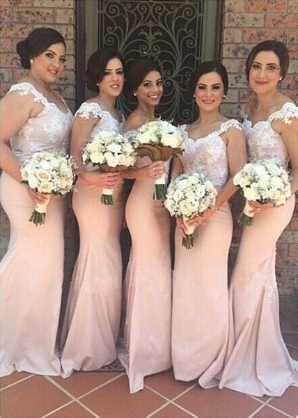 Pink Cap Sleeve Floor Length Lace Bodice Mermaid Long Bridesmaid Dress