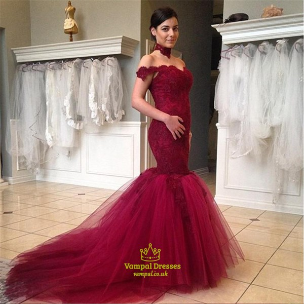 Red Lace Off The Shoulder Sweetheart Neckline Tulle Mermaid Prom Dress