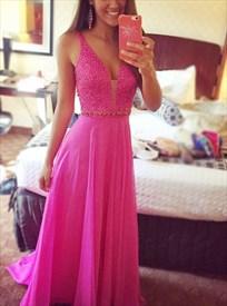 Fuchsia Sleeveless V Neck Beaded Top Floor Length Chiffon Prom Dress