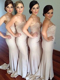 Strapless Beaded Bodice Sheath Column Floor Length Bridesmaid Dress