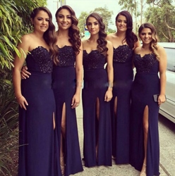 Navy Blue Strapless Embellished Sweetheart Prom Dress With Side Slit