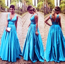 Blue Princess Sleeveless V Neck Empire Waist Open Back Prom Dress