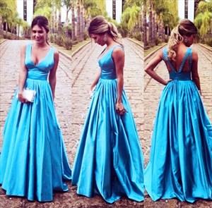 Blue Princess Sleeveless V Neck Empire Waist Open Back Prom Dress